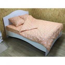 Постельное белье бязь Spany Home Hearts персиковый 1,5-сп(50X70)