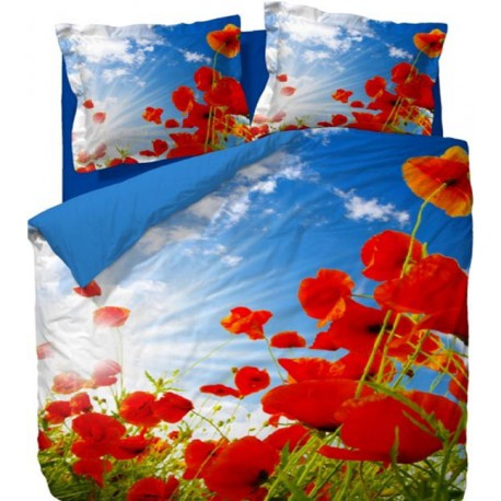 Постельное белье миткаль Elegance Red Flowers 1.5-сп.