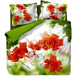 Постельное белье миткаль Elegance Green Flowers 2-сп.