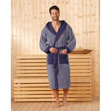 Халат махровый с капюшоном Gozze Sauna. Цвет синий