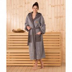 Халат махровый с капюшоном Gozze Sauna. Цвет серый